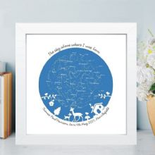 The Sky Above Where I was Born - Personalised New Baby Constellation Star Chart in Box Frame